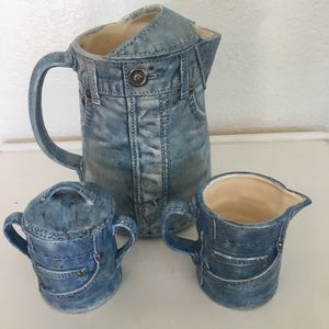 Vintage ceramic blue jeans coffee/tea set